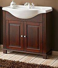 Badmöbel RETRO 85 mit Waschbecken MASSIVHOLZ BRAUN verschiedene Kombinationen (Waschbecken Waschbeckenunterschrank)