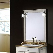 Badmöbel Ronda 80 cm rustikal aus Kiefernholz inkl. Waschbecken, Spiegel und Beleuchtung - Eiche