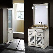 Badmöbel Ronda 80 cm rustikal aus Kiefernholz inkl. Waschbecken, Spiegel und Beleuchtung - Gold