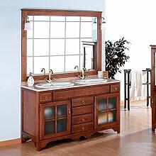 Badmöbel Rustical Cruz 140 cm aus kiefernholz mit glastüren, inkl. 2 waschbecken, spiegel und beleuchtung - Gold