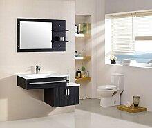 Badmöbel Schwarz Komplett mit Waschbecken Spiegel