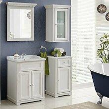 Badmöbel Set ' Nevio 5 tlg ' Waschbecken Spiegel Unterschrank 60cm Weiße Pinie Landhaus