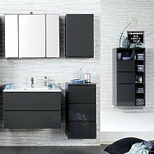 Badmöbel Set, 6-teilig inkl. Midischrank, Hochglanz grau, 80cm Waschtisch, Badezimmer, Badezimmermöbel, LED Spiegelschrank
