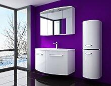 Badmöbel set Atlantis Hochglanz Lackiert Fronten und seiten Weiss 90 cm besteht aus: waschbeckenunterschrank, spiegelschrank mit beleuchtung, Waschbecken und Hängeschrank