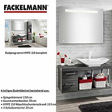Badmöbel Set Fackelmann HYPE 2.0 Waschbeckenunterschrank / Waschbecken / Spiegel