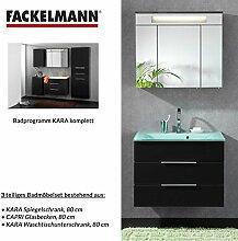 Badmöbel Set Fackelmann KARA Waschbeckenunterschrank / Waschbecken / Spiegel