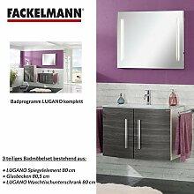 Badmöbel Set Fackelmann LUGANO Waschbeckenunterschrank / Waschbecken / Spiegel