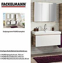 Badmöbel Set Fackelmann PIURO Waschbeckenunterschrank / Waschbecken / Spiegel