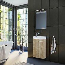Badmöbel Set Gäste WC Gäste Bad Waschtischunterschrank Spiegel mit LED Leuchte Waschbecken 40 cm (Sonoma Eiche)