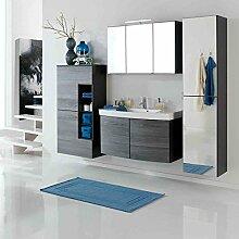 Badmöbel-Set Held Florida III 4-tlg Exklusive Badezimmer-Möbel Eiche Rauch-Silber Badmöbel-Programm