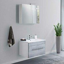 Badmöbel Set in Beton Grau und Weiß Waschtisch