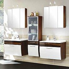 Badmöbel Set in Hochglanz weiß, Walnuss ● Badezimmer Komplettset: Doppelwaschtisch mit Unterschrank ● 2x Spiegelschränke mit Beleuchtung ● Made i