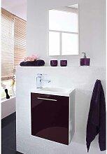 Badmöbel Set in Violett Hochglanz Weiß modern