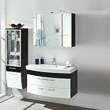 Badmöbel Set in Weiß Anthrazit Hochglanz online kaufen (3-teilig)
