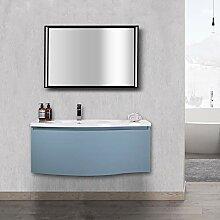 Badmöbel-Set Lena 1000 Taubenblau matt - Spiegel