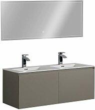 Badmöbel-Set Luna 1200 Grau matt - Spiegel