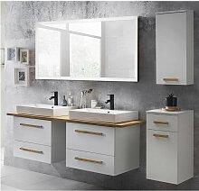 Badmöbel Set mit 165cm Waschtisch & LED-Spiegel