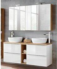 Badmöbel Set mit 2 Keramik-Aufsatzwaschbecken und