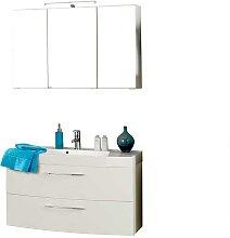 Badmöbel Set mit 3D Spiegelschrank Weiß