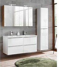 Badmöbel Set mit Doppel-Keramik-Waschtisch und 2