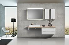 Badmöbel Set mit Lichtspiegel, Design Waschbecken