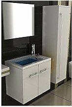 Badmöbel Set mit Waschbecken aus Mineralguss,