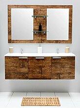Badmöbel-Set mit Waschbecken Spiegel Unterschrank Doppel Keramik Waschtisch Waschbeckenunterschrank Badezimmer Bad-Set vormontiert (Braun)