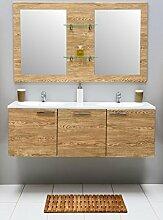 Badmöbel-Set mit Waschbecken Spiegel Unterschrank Doppel Keramik Waschtisch Waschbeckenunterschrank Badezimmer Bad-Set vormontiert (Beige)