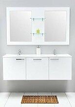 Badmöbel-Set mit Waschbecken Spiegel Unterschrank Doppel Keramik Waschtisch Waschbeckenunterschrank Badezimmer Bad-Set vormontiert (Weiß)