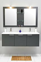 Badmöbel-Set mit Waschbecken Spiegel Unterschrank Doppel Keramik Waschtisch Waschbeckenunterschrank Badezimmer Bad-Set vormontiert (Grau)