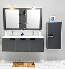 Badmöbel-Set mit Waschbecken Spiegel Unterschrank Hängeschrank Keramik Waschtisch Doppel Waschbeckenunterschrank Badezimmer Bad-Set vormontiert (Grau)