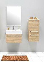 Badmöbel-Set mit Waschbecken Spiegel Unterschrank Hängeschrank Keramik Waschtisch Waschbeckenunterschrank 60 cm Badezimmer Bad-Set vormontiert (Beige)