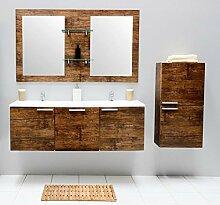 Badmöbel-Set mit Waschbecken Spiegel Unterschrank Hängeschrank Keramik Waschtisch Doppel Waschbeckenunterschrank Badezimmer Bad-Set vormontiert (Braun)