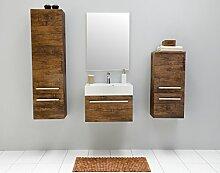 Badmöbel-Set mit Waschbecken Spiegel Unterschrank Hochschrank Hängeschrank Keramik Waschtisch Waschbeckenunterschrank 60cm Badezimmer Bad-Set vormontiert (Braun)