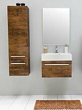 Badmöbel-Set mit Waschbecken Spiegel Unterschrank Hochschrank Keramik Waschtisch Waschbeckenunterschrank 60 cm Badezimmer Bad-Set vormontiert (Braun)