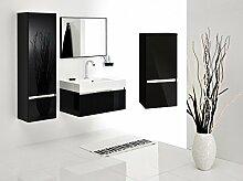 Badmöbel-Set mit Waschbecken Spiegel Unterschrank Hochschrank Hängeschrank Keramik Waschtisch Waschbeckenunterschrank 80 cm Bad-Set Hochglanz vormontiert (Schwarz Hochglanz)