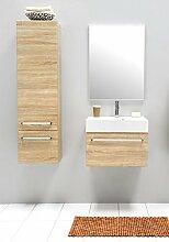 Badmöbel-Set mit Waschbecken Spiegel Unterschrank Hochschrank Keramik Waschtisch Waschbeckenunterschrank 60 cm Badezimmer Bad-Set vormontiert (Beige)