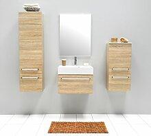 Badmöbel-Set mit Waschbecken Spiegel Unterschrank Hochschrank Hängeschrank Keramik Waschtisch Waschbeckenunterschrank 60cm Badezimmer Bad-Set vormontiert (Beige)