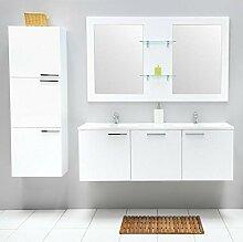 Badmöbel-Set mit Waschbecken Spiegel Unterschrank Hochschrank Keramik Waschtisch Doppel Waschbeckenunterschrank Badezimmer Bad-Set vormontiert (Weiß)