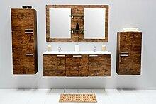 Badmöbel-Set mit Waschbecken Spiegel Unterschrank Hochschrank Hängeschrank Keramik Waschtisch Doppel Waschbeckenunterschrank Badezimmer Set vormontiert (Braun)