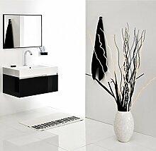 Badmöbel-Set mit Waschbecken Spiegel Unterschrank Keramik Waschtisch Waschbeckenunterschrank 80 cm Badezimmer Bad-Set Hochglanz vormontiert (Schwarz Hochglanz)