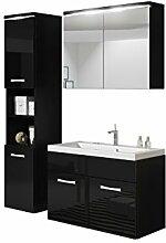 Badmöbel Set Paso mit Waschbecken und Siphon, Modernes Badezimmer, Komplett, Spiegelschrank, Waschtisch, Hochschrank, Hängeschrank Möbel (mit weißer LED Beleuchtung, Schwarz / Schwarz Hochglanz)