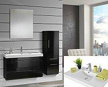 Badmöbel Set schwarz Hochglanz Badezimmermöbel 4 teilig komplett Mineralgussbecken Softclose