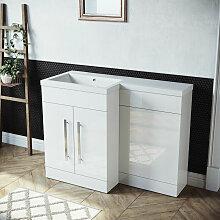 Badmöbel Set Waschbecken mit Unterschrank Weiß