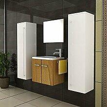 Badmöbel SET Waschtisch Walnuss Design Waschbecken Zwei Hochschränke weiss Hochglanz Gäste WC SET & Spiegel Komplettprogramme