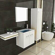 Badmöbel SET Waschtisch weiss Hochglanz Design Waschbecken Hochschrank Badezimmer Schrank Spiegel