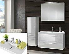 Badmöbel Set weiss Hochglanz Badezimmermöbel 3 teilig komplett Mineralgussbecken