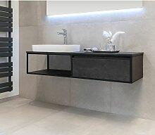 Badmöbel Unterschrank REED-140 (HPL / beton) ohne