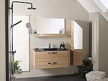 Badmöbel, Waschplatz Bergen 1, Set 3-teilig, Eiche furniert matt lackiert Waschbecken Schrank Spiegel