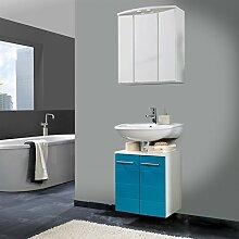 Badmöbel Waschplatz Hochglanz türkis Gäste WC